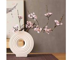GANHUA Ramas rotas japonesas flor de durazno flor de cerezo silvestre flor artificial Zen hogar decoración suave florero de cerámica arreglo floral decoración de la sala de estar un rosa (sin botella)