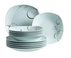 Domestic 921387 Chanson - Vajilla cuadrada de porcelana (6 platos llanos y 6 platos hondos), color blanco y negro