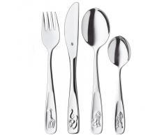 WMF Tiere - Cubertería para niños 4 piezas (tenedor, cuchillo de mesa, cuchara y cuchara pequeña) (WMF Kids infantil)