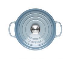 LE CREUSET Evolution Cocotte con Tapa, Redonda, Todas Las Fuentes de Calor Incl. inducción, 3,3 l, Hierro Fundido, Azul (Coastal), 22 cm
