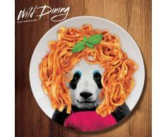 MUSTARD Wild Dining - Plato de cerámica para cenar, tamaño grande llano (22.9 x 22.9 x 2.3 cm), color blanco y diseño panda