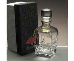 """Botella de cristal, decanter, garrafa, para whisky y licor, colección """"FUSION"""", boquilla en plata de ley 925, 22 cm. de altura."""