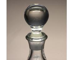 Botella de cristal, decanter, garrafa, para whisky y licor, boquilla en plata de ley 925, 29 cm. de altura.