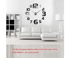 Anself - Reloj de pared extraíble creativo de vidrio acrílico, efecto de espejo para la decoración de hogar