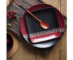 Estilo occidental negro rojo simple personalidad retro cerámica redonda pequeña placa cuadrada vajilla doméstica plato plato placa occidental