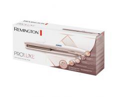 Remington S9100 PROluxe - Plancha de pelo, revestimiento de cerámica y pantalla digital integrada con 9 ajustes, color rosa