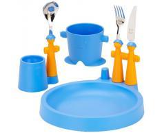 Rivadossi Puppet Club - Servicio de mesa infantil (incluye taza, plato, huevera y cubiertos), diseño de marionetas, color azul