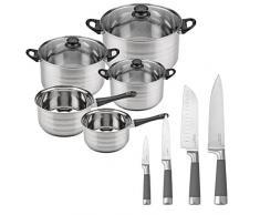 Batería de cocina SIP 8 piezas (dos cazos + tres ollas con tapa de vidrio) y Set de 4 cuchillos de cocina: Chef, Santoku, Multiusos y Pelador