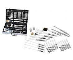 Holzsammlung® Cubertería de 24 piezas para barbacoa de acero inoxidable para barbacoa Cubiertos en maletín de aluminio