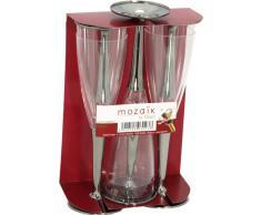 MOZAIK 6 copas de champán de plástico en color plateado (100ml)