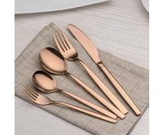 Berglander 30 piezas de titanio rosa chapado en oro cubiertos juego, 30 piezas de cobre cubiertos set, copas de color plata set cubiertos juegos, servicio para 6 (cobre brillante)
