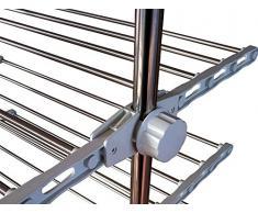 Todeco - Tendedero plegable y modulable para ropa, 87 x 64 x 147 cm, color plateado