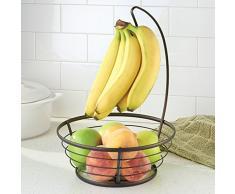 InterDesign Axis Canasta de frutas con gancho para colgar los plátanos, frutero con soporte para plátanos de alambre de metal, bronce