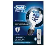 Oral-B TriZone 750 - Cepillo dental eléctrico, limpieza 3D, estuche de viaje incluido, color negro
