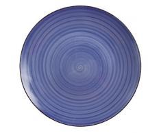 VILLA DESTE Baita Juego de 6 Platos de Postre de Gres Esmaltado Pintado a Mano, en Azul
