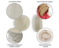 Amazy Banneton para pan - La ideal cesta para masa y fermentación de pan de mimbre natural (oval | ∅ 35 cm)