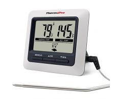 ThermoPro TP04 Termómetro de Cocina Digital para Carne Horno Alimentos Barbacoa, Gran Pantalla LCD con Temperatura de Alarma, Temporizador de Cocina y Garantía de la sonda por toda la vida