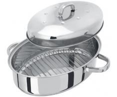 Juez tc182 35 x 25 cm acero inoxidable fuente para horno ovalada con tapa térmica