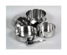 Relags Biwak 3 - Juego de ollas de acero inoxidable para acampada con asa desmontable (4 piezas)