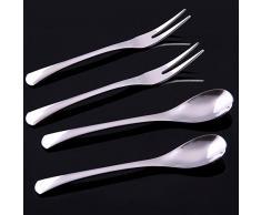 Vanra 5.3in 4 piezas Juego de cubiertos, plata 18/10 acero inoxidable de 2 tenedores y cucharas Ensalada 2 Set Tenedor cucharilla de cóctel Tenedor cuchara de café cuchara de servir Aperitivo Tenedor (cromado) (juego de 4)