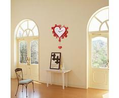 Creative Light- Reloj de pared de madera rojo decorativo de la manera Decoración moderna de la sala de estar del diseño moderno