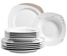 Domestic by Mäser, Serie Persegi, vajilla 18 teilig para 6 personas, un elegante porcelana