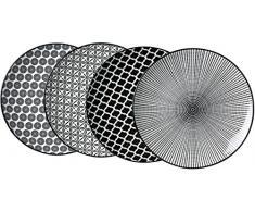 Ritzenhoff & Breker – Plato sopero, porcelana, color blanco y negro, 27 x 27 x 2 cm, 4 piezas