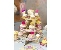 Talking Tables soporte de pastel reversible y vintage 'Ts3' con detalle floral y 3 niveles.Solo para los cupcakes y dulces pequeñas. Azul amarillo y rosa. Cartón,