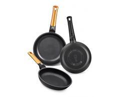 BRA Efficient Orange - Set de 3 sartenes, aluminio fundido con antiadherente tricapa libre de PFOA, para todo tipo de cocinas incluida inducción y vitrocerámica, aptas para lavavajillas, 18-22-26 cm