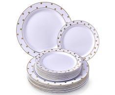 Silver Spoons 1836 - Vajilla Desechable de 40 Piezas (Charming Dots Collection – Blanco/Oro)
