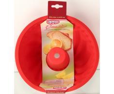 Dr. Oetker Flexxibel FlexxiLove-Molde Savarin-Bundt 22 cm, Apto para lavavajillas. Silicona Platinum, Color Rojo, 1 Unidad