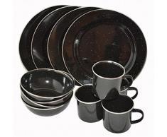 A.Blöchl 12 Piezas Esmalte – Set de Cocina Western para 4 Personas Vajilla de Camping – Set de Cocina esmaltado, Negro, Large