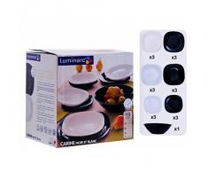 Luminarc Carine - Vajilla cuadrada de 19 piezas, color negro y blanco