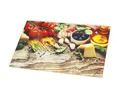 Tabla de cortar multifuncional 20 x 30 cm de vidrio templado - estilo mediterráneo - Bandeja para servir - tabla de postre - Tabla de cortar queso - olla con tapa para suelo - tabla de cortar resistente al calor - Tabla de cortar de vidrio templado