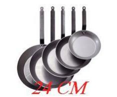 De Buyer Coupe Lyonnaise - Sartén para freír redonda, mango con chapa de hierro, 24 centímetros