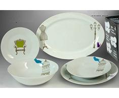 DonRegaloWeb - Vajilla de porcelana de 20 piezas decorada con artículos de decoración