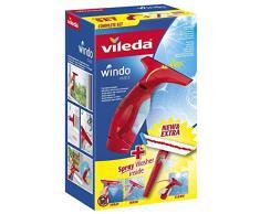 Vileda Windomatic Set Aspirador de ventanas y mopa de microfibras con spray, limpiacristales con cuello flexible y pulverizador con mopa, batería extra duradera, medidas 17.5 x 12 x 32 cm, color rojo