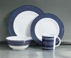 Grove - Vajilla de melamina, diseño rayas (16 piezas), color azul