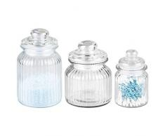 mDesign Juego de 3 frascos de vidrio – Tarros de cristal con tapa ideales para guardar cosméticos – Recipientes de vidrio multiuso - Transparente
