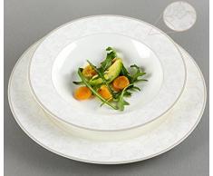 Ritzenhoff & Breker Isabella - Vajilla (12 piezas, porcelana china), color blanco con decoración, Porcelana de ceniza de hueso, weiß mit ornamenten, 31 x 28 x 33 cm