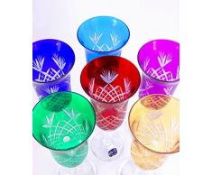 Set de 6 vasos de champán, cortado a mano, cristal de plomo, Bohemian, Multi Color Vino Agua - Copas de champán Rojo, Azul y Amarillo Azul Claro Verde y Morado, 150 ml