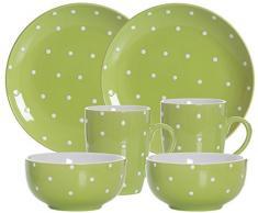 Ritzenhoff & Breker Brunch de y Desayuno Vajilla Pinto, 6Piezas, cerámica, Color Verde