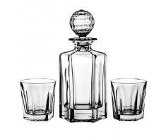 Crystal Julia 2111 juego de whisky, 7 teilig, 1 x jarra 0,75 L, 6 x vasos de 280 ml, cristal al plomo, modern, translúcido