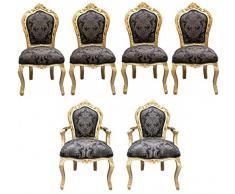 Casa Padrino barroco vajilla 4 sillas + 2 sillas con apoyabrazos - Muebles de estilo antiguo Casa Padrino Baroque Dinner Set Chair Set Black Pattern / Gold - 4 chairs without armrests 2 chairs with armrests - furniture antique style