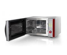 Orbegozo MIG 2380 – Microondas con grill de acero inoxidable, 23 litros de capacidad, potencia de 900 W, grill de 1000 W y 10 niveles de potencia, color gris