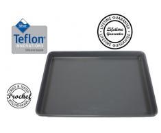 Prochef - Bandeja de horno metálica (revestimiento de silicona de teflón, tamaño grande)