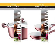 Domestic TOP Selection Mäser Serie Himalia - Sartén honda con tapa de cristal (28 cm, aluminio, con revestimiento de cerámica ILAG, 1,8 mm)