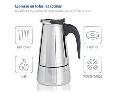 Xavax Cafetera espresso para 6 tazas de café aromático, cafetera para inducción, gas, cocina eléctrica o vitrocerámica, cafetera de acero inoxidable plateada