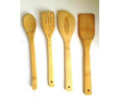 SystemsEleven - Lote de 4 utensilios de cocina de madera de bambú (cuchara, espátulas, tenedor)