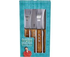 Jamie Oliver Juego de 8 Cuchillos para Carne, Acero Inoxidable, Black/Silver/Wood, 25cm